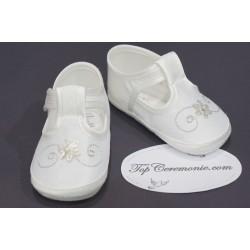Chaussures babies baptême tissus blanc/gris