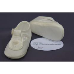 Chaussures babies baptême tissus blanc ou ivoire