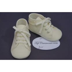 Chaussons babies baptême bébé garçon en tissus ivoire