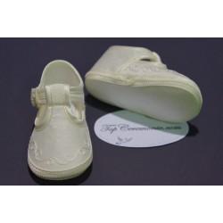 Chaussures babies baptême bébé mixte tissus ivoire