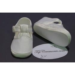 Chaussures babies baptême bébé mixte en tissus ivoire