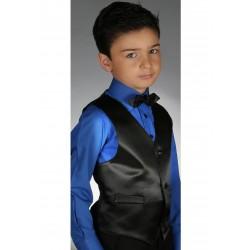 Gilet costume satin noir cortège garçon