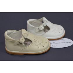 Chaussures cérémonie baptême cuir blanc ou beige du 16 au 21