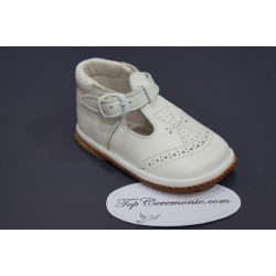 Chaussures cérémonie baptême cuir blanc du 16 au 20