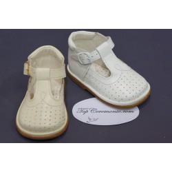 Chaussures cérémonie baptême cuir blanc ou beige du 16 au 20