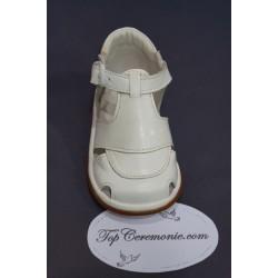 Chaussures cérémonie baptême cuir blanc