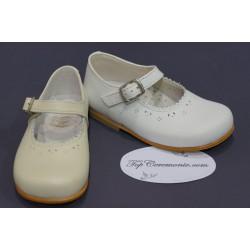 Ballerines cérémonie cuir bébé fille blanc ou beige du 20 au 27