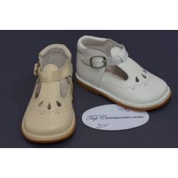 Chaussures cérémonie fille cuir blanc ou beige