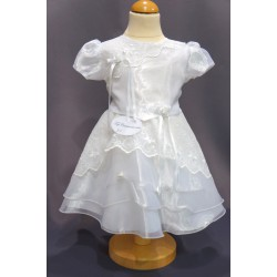 Robe cérémonie baptême blanche bébé fille CR 1001MC