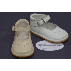 Chaussures cérémonie fille cuir blanc ou beige du 16 au 21