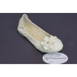 Ballerines cérémonie fille ivoire motif fleur