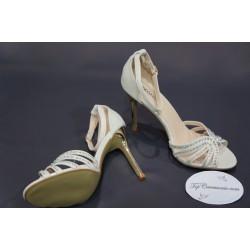 Escarpins sandales de cérémonie femme ivoire nacré
