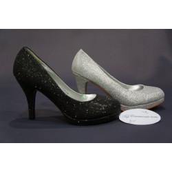 Escarpins de cérémonie femme à plateforme noir  ou argent brillant