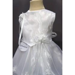 Robe baptême blanche bébé fille CR 004SM