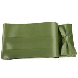 Coffret ceinture de smoking et nœud papillon satin vert anis