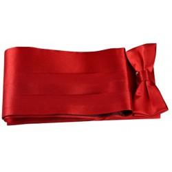 Coffret ceinture de smoking et nœud papillon satin rouge