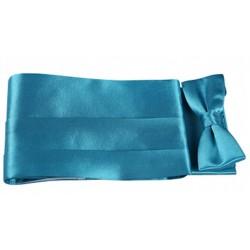 Coffret ceinture de smoking et nœud papillon satin turquoise