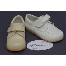 Chaussures cérémonie garçon cuir blanc ou beige du 21 au 27
