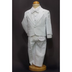 Costume baptême bébé garçon blanc 5 pièces EST