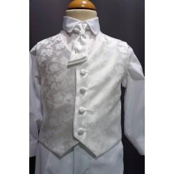 Ensemble bapteme garcon blanc 3 pieces A493