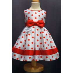 Robe pois rouge fille REF CHJ 0018SM