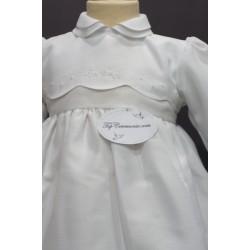 Robe cérémonie baptême blanche bébé fille manches longues CLEA