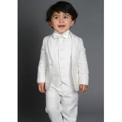 """Costume de baptême bébé garçon 3 pièces """"Les petits mecs"""" DIVA ivoire"""