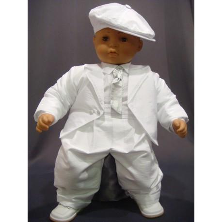 bff7044fb85af Costume baptême 3 pièces garçon Blanc pantalon à bretelles réf. JACK