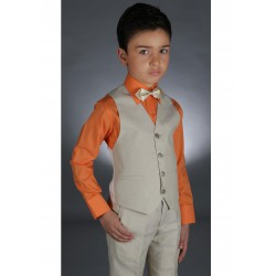 Gilet pantalon lin garçon couleur NATUREL