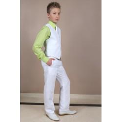 Ensemble pantalon gilet lin garçon couleur BLANC