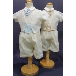 Ensemble costume cérémonie baptême bébé garçon ivoire Ref. PORT/IV485