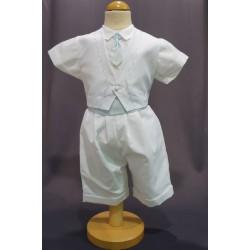 Ensemble cérémonie baptême bébé garçon blanc/ciel Ref. PORT/BL999