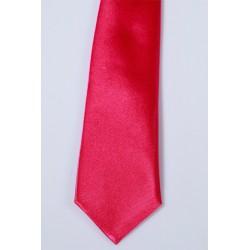 Cravate longue et pochette enfant satin fushia