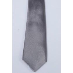 Cravate longue et pochette enfant satin gris