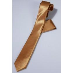 Cravate longue et pochette enfant satin or