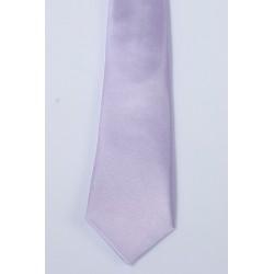 Cravate longue et pochette enfant satin parme