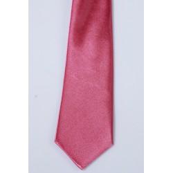 Cravate longue et pochette enfant satin rose