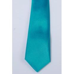 Cravate longue et pochette enfant satin turquoise