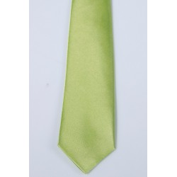 Cravate longue et pochette enfant satin vert anis