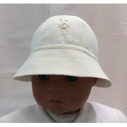 Chapeau cérémonie forme cloche brodé ivoire