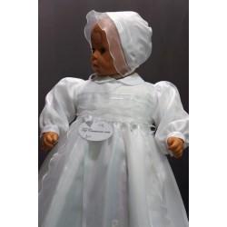 Robe longue de baptême traditionnelle blanche bébé ANA