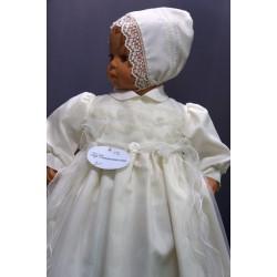 Robe longue de baptême traditionnelle ivoire bébé VAL
