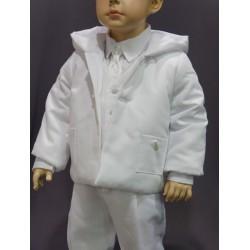 Manteau cérémonie garçon coton piqué blanc