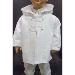 Manteau de baptême garçon coton piqué blanc