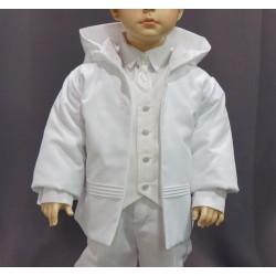 Manteau capuche cérémonie garçon coton piqué blanc
