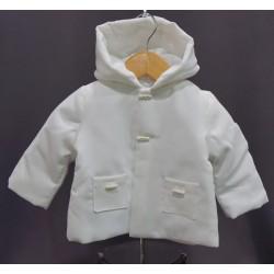 Manteau de baptême garçon velours millerais  blanc ou ivoire