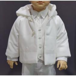 Manteau de baptême garçon velours millerais  blanc perle