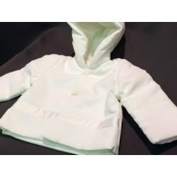 Manteau de baptême garçon velours millerais  blanc