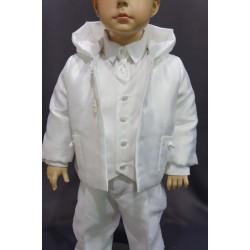 Manteau capuche cérémonie garçon satin blanc perle