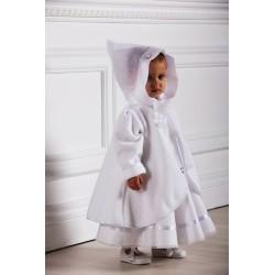Manteau capuche cérémonie fille polaire blanc